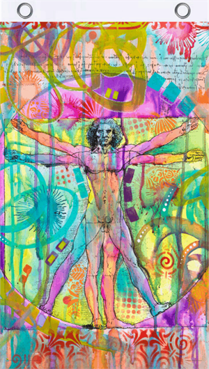 Vitruvian Man by Dean Russo Blacklight Reactive Fly Flag Image