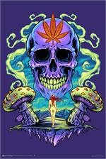 Purple Cannabis Skull by Flyland Designs Poster Image
